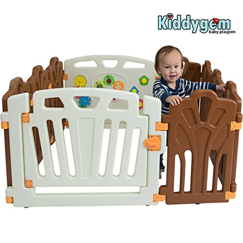 Kiddygem Puzzle and Beep Fun Baby 10 Panels Playpen, Brown