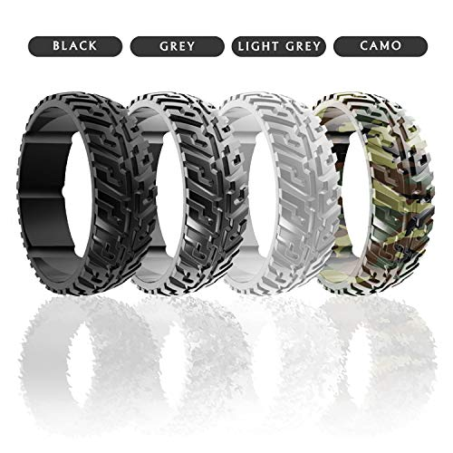 DSZ Silicone Wedding Ring for Men Sports Rubber Band for Heavy Duty - Unique Jeep Tire Tread Design with Groove for Extra Comfort (Royal Black, Light Grey, Dark Grey, Camo Green, 13)