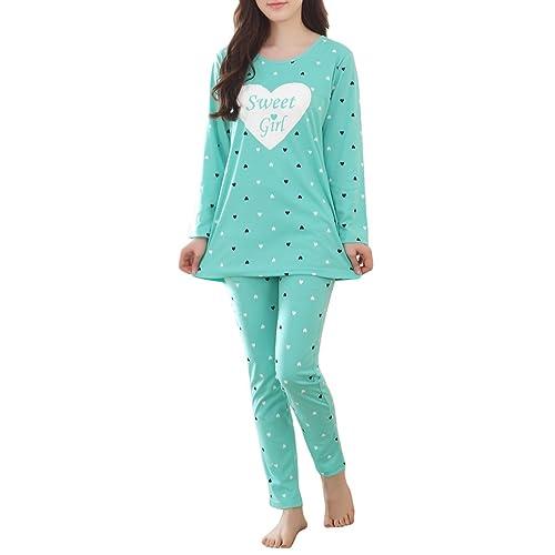b74690971 MyFav Girls' Comfy Sleepwear Hearts Shape Pajama Set Sweet Dream Leisure  Nighty