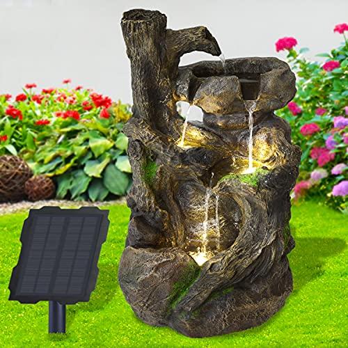 Solar Gartenbrunnen Brunnen Solarbrunnen Zierbrunnen BAUMWURZEL & Stein-Kaskade mit LED-Licht, Wasserfall Gartenleuchte Teichpumpe für Terrasse, Balkon, mit Pumpen, mit Liion-Akku