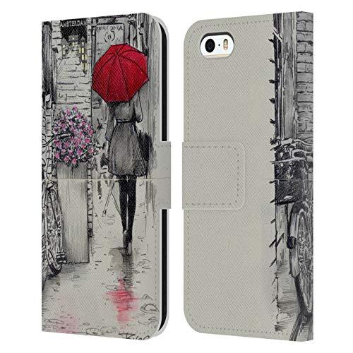 Head Case Designs Licenza Ufficiale LouiJoverArt Passeggiata Amsterdam Inchiostro Rosso Cover in Pelle a Portafoglio Compatibile con Apple iPhone 5 / iPhone 5s / iPhone SE 2016