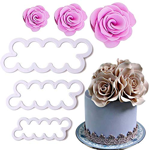 PalkSky Cake Decorating Gumpaste Flowers The Easiest Rose Ever Cutter Pack of 3
