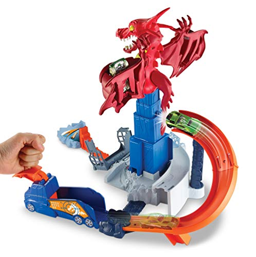 Hot Wheels Dragon Blast Play Set with Launcher for Heroic Action Connecticut