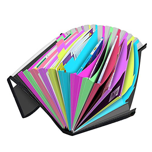 Accordian File Organizer with Labels and Flap,13 Pockets Expanding File Folders, Accordion Filing Folder Document Holder for Paper Reciept Check Paperwork Storage,A4 Letter Size,Custom Tabs Photo #7
