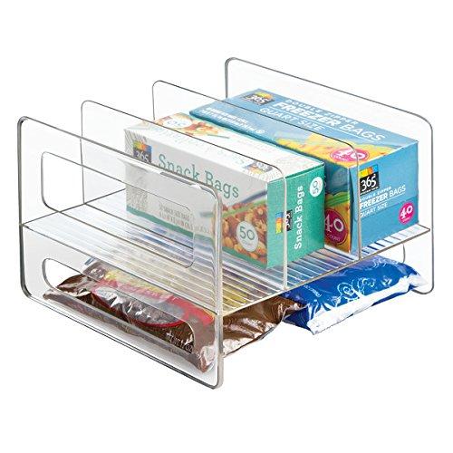 mDesign wandelbarer Küchen Organizer – Ordnungsbox für Küchenschrank und Speisekammer – clevere Küchen Aufbewahrung für Alufolie, Backpapier etc. aus beständigem Kunststoff – durchsichtig