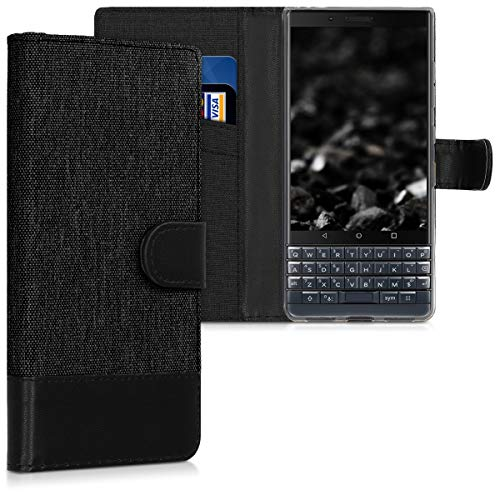 kwmobile Wallet Case Compatible with BlackBerry KEYtwo LE (Key2 LE) - Case Fabric and Faux Leather Phone Flip Cover - Anthracite/Black