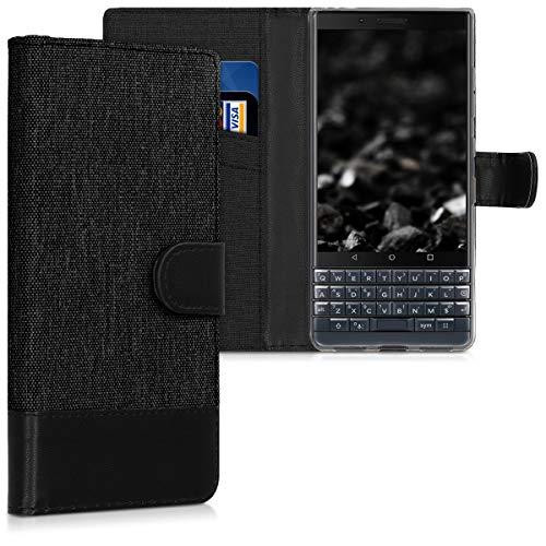 kwmobile Hülle kompatibel mit BlackBerry KEYtwo LE (Key2 LE) - Kunstleder Wallet Hülle mit Kartenfächern Stand in Anthrazit Schwarz