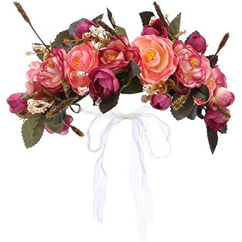 Folora Serre-tête réglable en forme de couronne de fleurs avec ruban pour mariage, cérémonie, festival