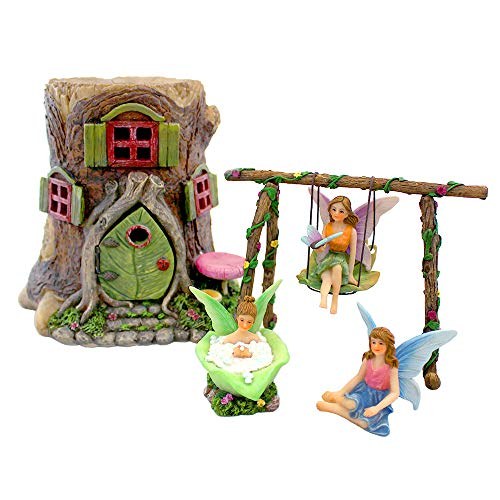 NW Wholesaler Fairy Garden Starter Kits with Mini Fairy Houses, Accessories and Supplies (Tree Stump Set)