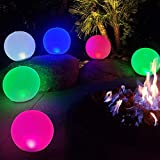 Bola de luces LED inflables de noche Carga USB de 5V,Lámpara de Globo Brillante Colorida de 14' Recargable,Luces Cambiantes de Color,Luz de Piscina Flotante Impermeable IP68 para el Hogar,Jardín 1Pcs