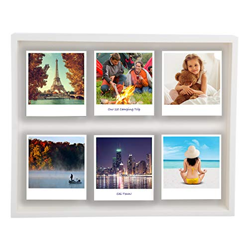 "Polaroid Photo Shadow Box Magnetic 12 x 10"" Picture Frame Holds 6 Photographs Living Room Home Decor"