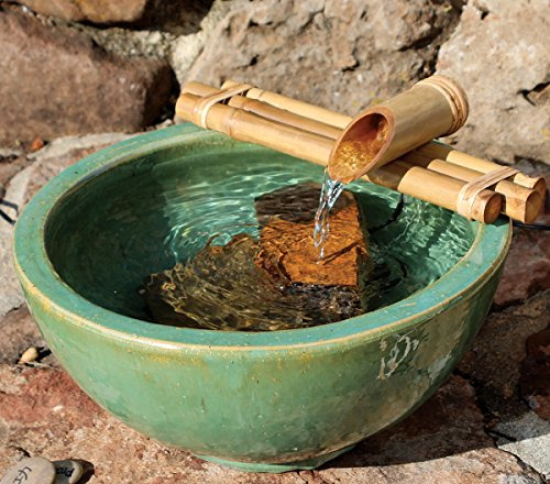 Bamboo Accents Water Fountain for Yard, Indoor/Outdoor Fountain, 12