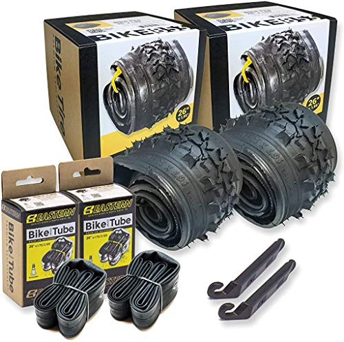 26 Inch Bike Tire Replacement Kit for Mountain Bike Tires 26 X 1.95 Includes Tools. with or Without Tubes Choose 1 or 2 Packs. (2 Tires & 2 Tubes)