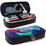 Estuche de lápices de cuero PU con cremallera, Origami Ship, gran capacidad de almacenamiento, marcador, estuche, estuche, bolsa de maquillaje cosmético