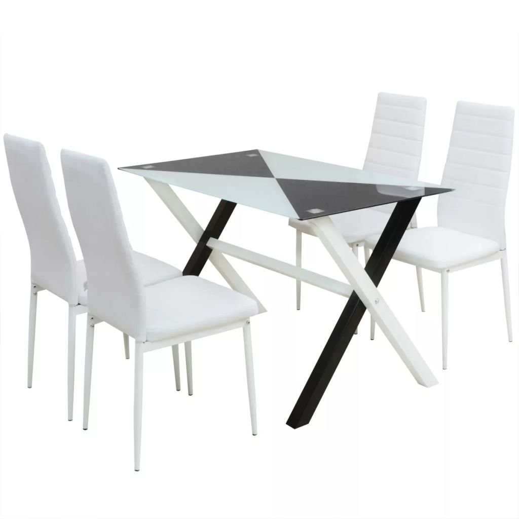 Tidyard Muebles de Jardin Exterior Conjuntos Conjunto mesas y sillas de Comedor Cinco Piezas Cuero Sint, Incluye 1 Mesa y 4 sillas: Amazon.es: Hogar