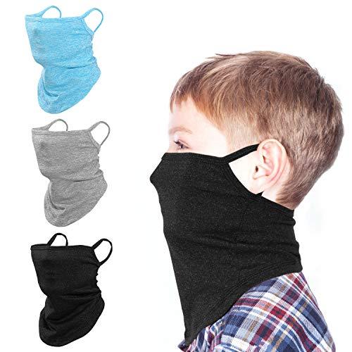 Rhino Valley Kinder Gesicht Schutztuch, 3 Stück Elastisch UV Schutz Bandana Atmungsaktiv Multifunktion Schlauchschal Anti Staub Kopftuch mit Ohrschlaufe für Sport Radfahren Wandern Trekking, Schwarz