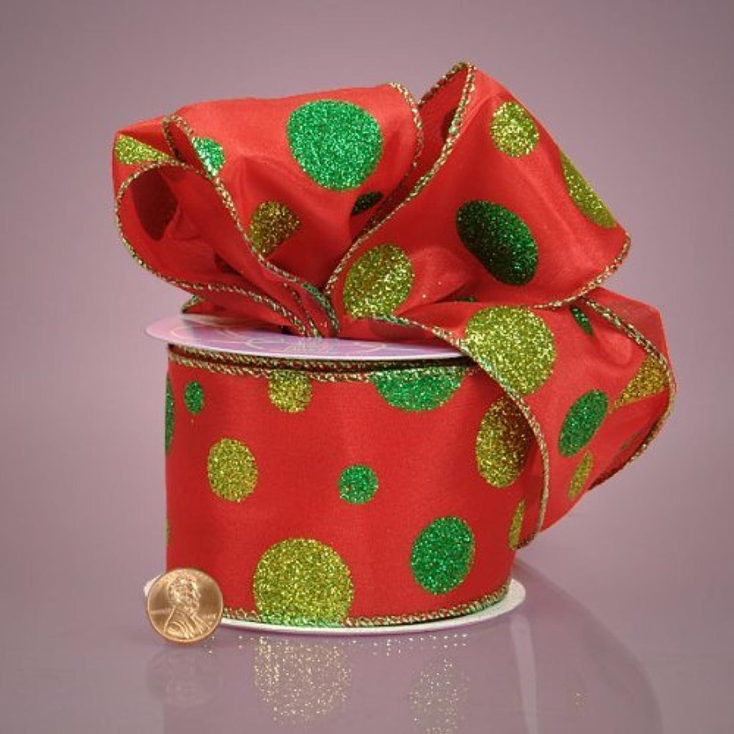 Red and Green Glitter Polka Dots Satin Ribbon, 2-1/2