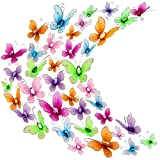 Zonon 60 Pieces Colorful Butterflies Set, Nylon Butterflies Wire Butterfly with Delicate Gem for Home and Wedding Table Scatter Scrapbook Craft Card Decoration, 2 Sizes (2.5 cm and 3 cm)