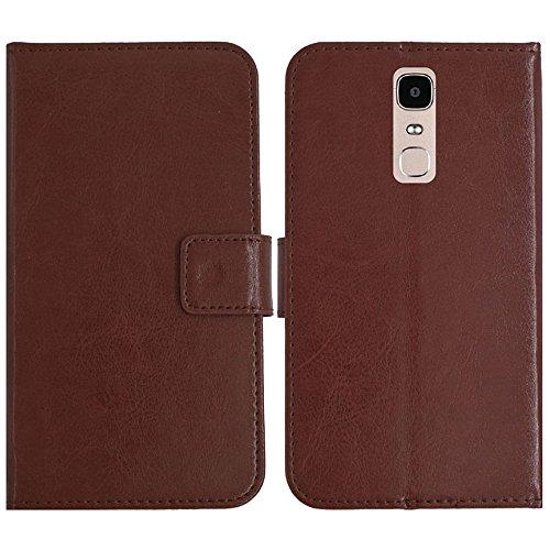 TienJueShi Brown Flip Book-Style Brief Leder Tasche Schutz Hulle Handy Hülle Abdeckung Fall Wallet Cover Etui Skin Fur Doogee Y6 Max 6.5 inch