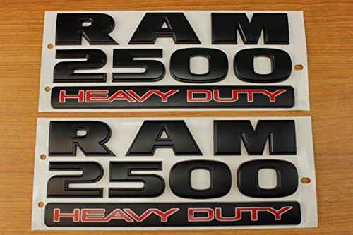 Set Of Dodge Ram 2500 Heavy Duty Flat Matte Black Door Emblems Mopar OEM