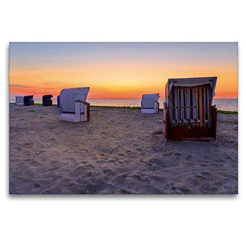 Premium Textil-Leinwand 120 x 80 cm Quer-Format Strandkörbe bei Harlesiel | Wandbild, HD-Bild auf Keilrahmen, Fertigbild auf hochwertigem Vlies, Leinwanddruck von Reemt Peters-Hein