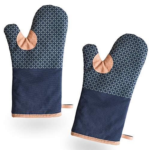BCS Kitchen Tools extra Lange Ofenhandschuhe zum Backen, Kochen und Grillen - Anti-Rutsch Silikon Topfhandschuhe - Hochwertige hitzebeständige Topflappen mit Eingriff in Blau