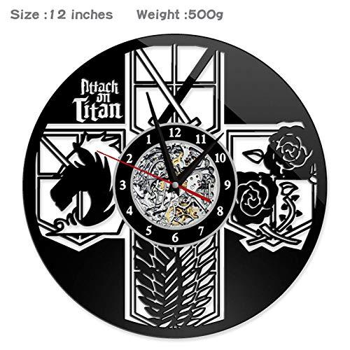 JXWH Reloj de Pared de Disco de Vinilo Que ataca a la Sala de Estar de Estilo Anime de Titan Reloj de Pared Retro silencioso