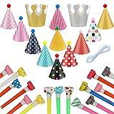 Annhao 28 Pezzi Cappellini per Feste Compleanno, Carta Cappelli Corona per Bambini, Cappello con Cono Colorato, Partito Trombette Fischietto Decor Festa, Feste di Compleanno Cappello Bambini