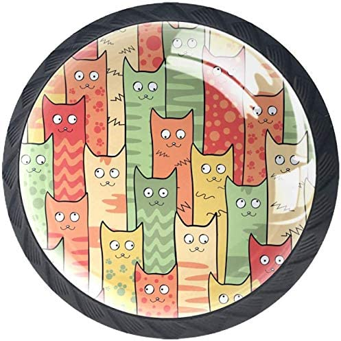 4 Pack Round Kitchen Recommendation Cabinet Knobs Texture Pulls Cats Cute Eyes Max 70% OFF