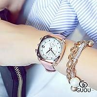QTMIAO 美しいドレスウォッチ時計 レトロファッションカレンダークオーツの傾向は、正方形の多機能ベルト中立時計 (Color : 2)