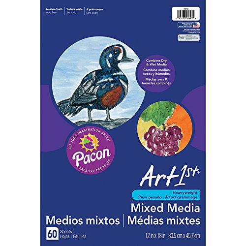 Pacon PAC4843 Art1st Mixed Media Art Paper, 12' x 18', White, 60 Sheets