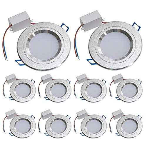 Luz de techo LED empotrada Lámparas de luz del panel LED Downlights LED Luz de empotrar LED Luz blanca cálida de LED Luz empotrada de techo Modern Matt Design 10 Pack 5W Illuminant 85-265 V