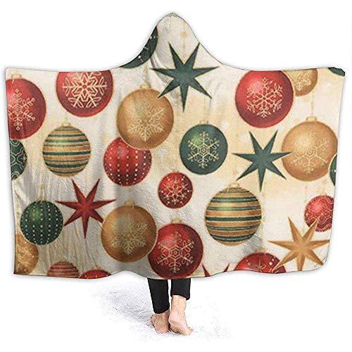 Mit Kapuze Decken, Winters Grandeur Weihnachtskugeln Sterne Neuheit Sherpa Plüsch Fleece Wele Decke werfen