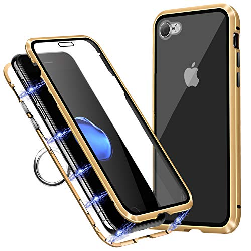 TiiParPar Magnetic iPhone 8 Case iPhone 7 Adsorption Case Front& Back Tempered Glass Full Coverage iPhone 7/8 [Magnetic Adsorption] [Multifunctional Ring Holder] (Gold Frame + Clear Back)