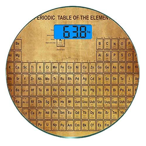 Escala digital de peso corporal de precisión Ronda Ciencia Báscula de baño de vidrio templado ultra delgado Mediciones de peso precisas,Elementos de química Tabla Vintage Diseño antiguo para científic