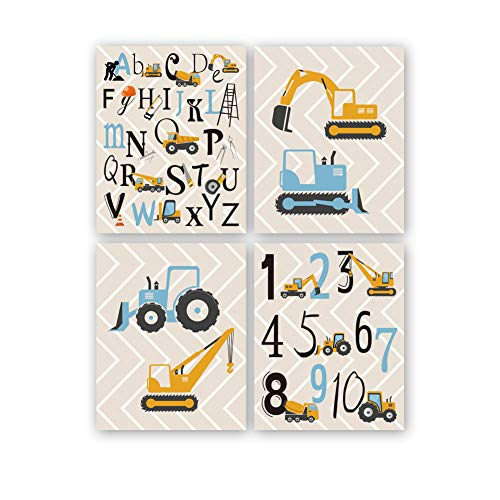 KARTME 4er Set Kinderzimmer Babyzimmer Bilder, Deko Junge Poster, Kinder Autos Bagger Fahrzeuge Feuerwehr, Baby Wandbilder set, Kinderbilder Babybilder Ohne Rahmen
