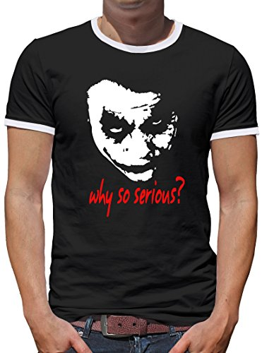 TShirt-People Joker Why so Serious? Kontrast T-Shirt Herren L Schwarz