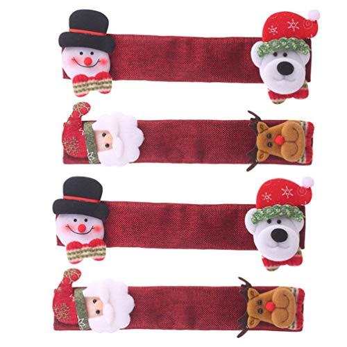 UPKOCH 4 tiradores navideños para la puerta del frigorífico, con diseño de muñeco de nieve, para frigorífico, cocina, microondas, lavavajillas