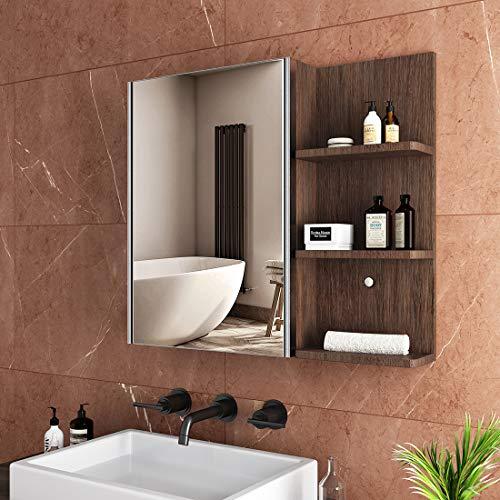 Safeni LED Spiegelschrank, 50x70x15cm Badezimmer Spiegelschrank mit Beleuchtung Lichtspiegelschrank+Bluetooth+Sensor Schalter+Innen- und Außenspiegel(Walnuss)