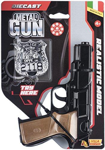 Pistola giocattolo in metallo, 8 colpi Modello panther, nero A tamburo Impugnatura in finto legno Prodotto in italia Munizioni non incluse Lunghezza pistola: 17 cm Incluso nella confezione distintivo argento