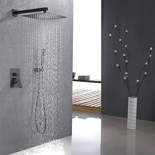 IRIBER Gunmetal Color Shower System with 12 Inch Square Shower Head and Handheld Bathroom Wall Mounted Brushed Black Bronze Shower Set Contain Shower Faucet Mixer Valve and Trim Kit (Valve Included)