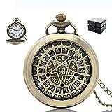 MLSJM Mens Retro Cuarzo Reloj De Bolsillo Antiguo con La Cadena, Holllow Bronce Vendimia De Las Mujeres Pentagram Colgante Reloj De Bolsillo Collar, Números Árabes del Dial