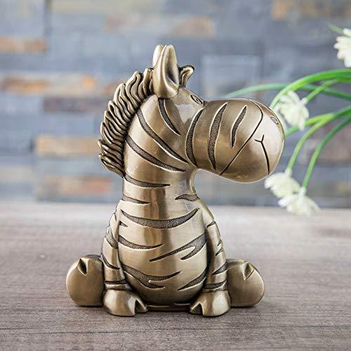 KUIMI Hucha Infantil Alcancía Creative De Zebra Coin Piggy Bank, Aleación De Zinc Tarro Dormitorio De Metal Animal Creativo Hucha para Decoración De Regalo