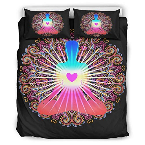 DOGCATPIG Fundas de almohada para yoga, Bud-dha estilo moderno, reversible, elegante colcha para colegas, color blanco 90 x 90 pulgadas