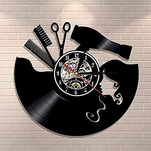 KDBWYC Reloj de Pared Peine Tijeras secador de Pelo salón de Belleza Reloj de Pared Reloj de Vinilo Reloj Retro Lista de peluquería Corte de Pelo Regalos de Arte Que cuelgan en la Pared