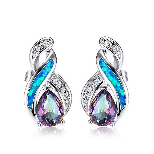 Plata 925 Pendientes Mujer, Azul Opal Brillante Gota De Agua Clips Para...