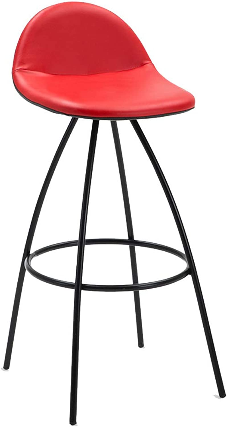 Stools Step Stools Work Stool Iron Art Bar Chair Leisure High Chair Creative Front Desk Bar Stool ZHANGAIZHEN (color   RED)