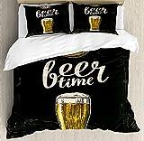 ABAKUHAUS Moderno Funda Nórdica, Tiempo de la Cerveza y el Viejo Reloj, Decorativo 2 Piezas con 1 Funda de Almohada, 130 x 200 cm - 70 x 50 cm, Crema Verde Oscuro Amarillo