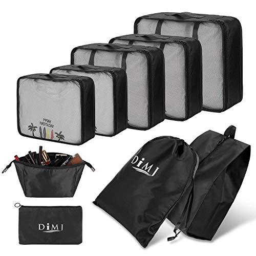 DIMJ Packing Cubes for Travel, 9 Pcs Travel Cubes Set Foldable Suitcase Organizer Lightweight Luggage Storage Bag, Various of Sizes (Black)