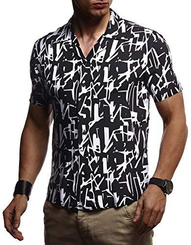 Leif Nelson LN3655 Chemise d'été à manches courtes et col Kent pour homme Coupe ample Élégante chemise hawaïenne Chemise pour la plage, les vacances, les loisirs - Noir - Small